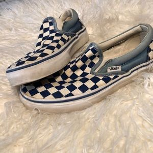 VANS blue& white checkered slip ons